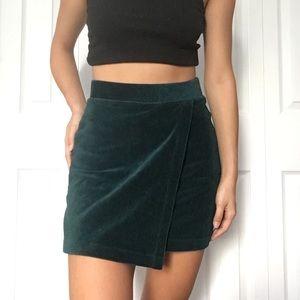 Green ribbed velvet mini skirt forever 21